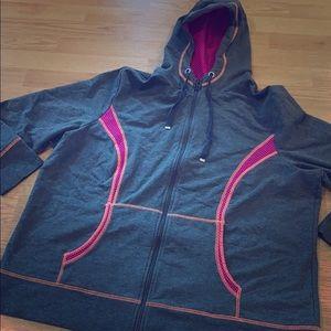 Lane Bryant active Gray zip up hoodie 22/24